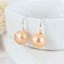 Sterling Silver 10mm Freshwater Pearl hook Earrings Genuine Heel shoes Gift Pink