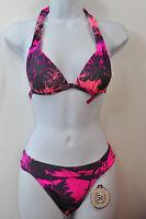 SO Pink & Gray Palm Tree Design Halter Bikini Top or Bottom Swimwear MSRP $28