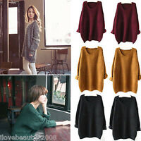 2017 Women Oversized Knitted Sweater Batwing Sleeve Tops Pullover Loose Outwear