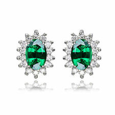 2.5ct Luxury Emerald 10mm Earrings Solid Sterling Silver Special Occassion Hot