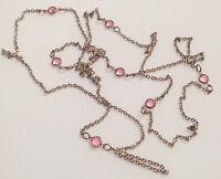 Bijou collier sautoir vintage cristal rose double face couleur argent * 5026
