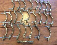 Lot of 25 Brass Drawer Pulls Wicker Look Twist Classic Cabinet Handles  (37)