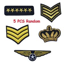 5 Pcs Craft Iron-on Embroidered Patch Army Badge Military Rank Sewing Applique