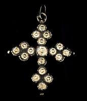 Antique Georgian Pendant Black Dot Diamond Paste Silver Crucifix French C.1800s
