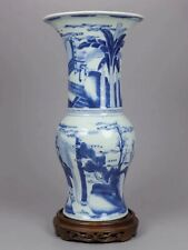 More details for kangxi chinese antique porcelain blue and white vase with figures 18th century
