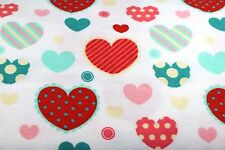 RED PINK BLUE HEARTS GOOD HEART FLANNEL FABRIC 100% COTTON SEWING QUILTING BTY