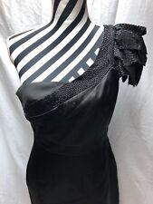 Karen Millen Black Satin Pencil One Shoulder Beaded Dress LBD 12