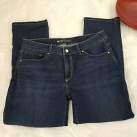 Lee Womens Perfect Fit Jeans Size 14 Short Dark High Waist Straight Leg Stretch