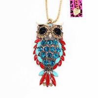 Betsey Johnson Enamel Crystal Cute Owl Pendant Sweater Chain Animal Necklace