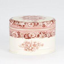 NEW Antique vintage flower style Porcelain Red Cream  trinket powder box jar