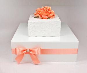 Coral & White Wooden Wedding Cake Stand Box with Rhinestone Pearl Jewel, White,