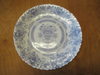 "Arcopal HONORINE Dinner Plate 10 3/4"" Blue Floral Swirl Rim 1 ea    4 available"