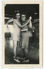2 Young Women in Sunglasses Dance Together Evansville IN? Vintage 1944 Photo