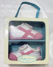 POLO RALPH LAUREN Layette White & Pink Greenwich Leather Suede Baby Shoes Size 2