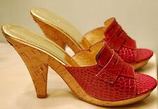 "Vintage MICHAEL KORS Slide Heel Shoes 6M MAGENTA 4.5"" CROC EMBOSSED LEATHER"