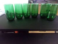 Green Tumblers Glasses Coolers 6 Libbey Rounded Design Circa 1960's 8 .oz