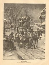 Christmas, Post Office, Mail Carrier, Horse Drawn Coach, 1893 Antique Art Print
