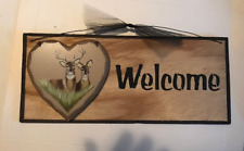 Heart DEER WELCOME country kitchen lodge cabin lake home decor wooden sign