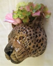 More details for quail ceramic leopard wall vase or pocket - wildlife animal big cat figure model