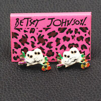 Betsey Johnson Enamel Crystal Flower Cute Double Owl Ear Stud Animal Earrings