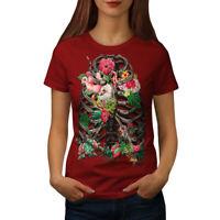 Wellcoda Skull Flower Womens T-shirt, Festival Casual Design Printed Tee