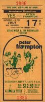 YES / PETER FRAMPTON 1976 RELAYER TOUR ANAHEIM STADIUM CONCERT TICKET / NM 2 MNT