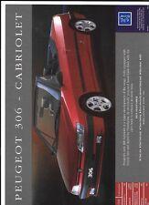 PEUGEOT 306 CABRIOLET + 306-S16 & XSi SALES 'BROCHURE'/SHEET OCT.1993 FOR 1994