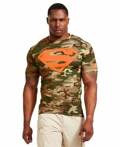 Under Armour Mens Superman Alter Ego Short Sleeve Compression Shirt Vegas Gold