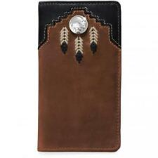 Silver Creek Western Mens Wallet Leather Rodeo Laced Indian Head Nickle 06269