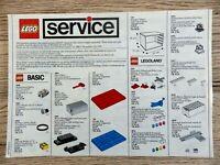 Notice LEGO Service brochure de 1988 vintage Manuels pièces de rechange