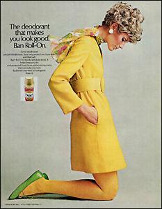 1968 pretty woman yellow dress Ban Roll on deodorant retro photo print Ad adL95