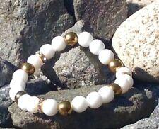 Armband Edelstein Kugeln Perlen Jade (Weiß)Hämatit Hematit Gold Stretch Zirkonia