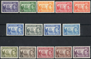 St Helena 1938 KGVI set of mint stamps value to 10 shillings  Lightly Hinged