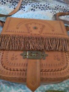 Vintage Hand Tooled Leather Handbag Bag Boho cross body festival Hippie