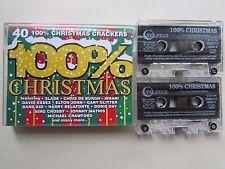 40 100% CHRISTMAS CRACKERS DOUBLE CASSETTE SET, 1994 TELSTAR,  TESTED.