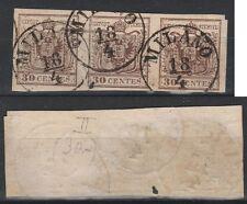 FRANCOBOLLI 1854/57 LOMBARDO VENETO C.30 STRISCIA 3 VALORI MILANO 18/4 Z/3595