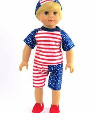 """Patriotic Swimmer Bathing Suit Fits 18"""" American Girl Doll Clothes 1Pc"""