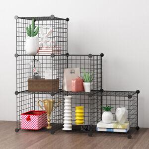Stacking 6 Cube Metal Wire Rack Interlocking Storage Cabinet Organiser Display