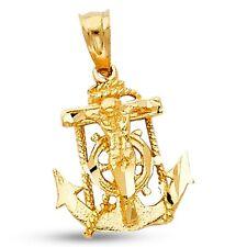Jesus Anchor Crucifix Pendant Solid 14k Yellow Gold Mariner Cross Charm Design