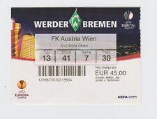 Orig.Ticket   Europa League  2009/10   WERDER BREMEN - AUSTRIA WIEN  !!  SELTEN