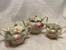 Antique RS Prussia Roses Tea Set Carnation Peach Satin Finish Gold Gilt Delicate