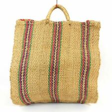 Vintage Woven Striped Jute BEACH Market Tote Bag Carry All Extra Large 21x19