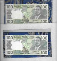 *Most Treasured Banknote Sierra Leone 100 Leones 1990 P18c UNC Consecutive Fancy