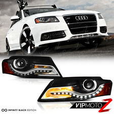"""2009-2011 Audi A4 """"FACELIFT Style LED DRL"""" Black Projector Head Lights Lamps SET"""