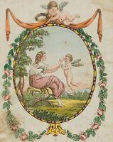 Blumenberankte Glückwunschkarte mit Putti, um 1900, Chromolithographie
