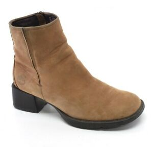 Ladies Timberland Chelsea Ankle Boots 6 M Brown Leather Chunky Heel Bootie Shoes