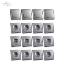 DELPHI Unterputz Starter-Kit, 16er Set Schalter Steckdose inkl. Rahmen silber UP