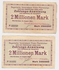 Pfarrkirchen  2x 2 Millionen Mark  Notgeld  Bayern  (449
