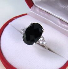 BLACK SPINEL & WHITE SAPPHIRE RING 7.19 CTW sz 7.25 - WHITE GOLD over 925 SILVER