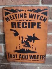 "PRIMITIVE STYLE HALLOWEEN WOOD WITCH SIGN ""MELTING WITCH RECIPE! Hp"